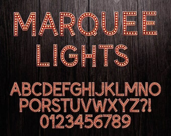 "8"" MARQUEE LIGHTS Hollywood Broadway Style Red Alphabet and Numbers Theater Lights Alphabet Printable Broadway Letters Broadway Alpha #L008"