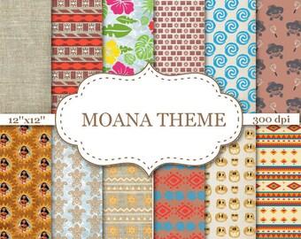 "MOANA THEME digital paper Moana Maui Turtle Digital papers Floral scrapbook papers Moana Tribal Digital Paper Instant download 12""x12"" #P174"