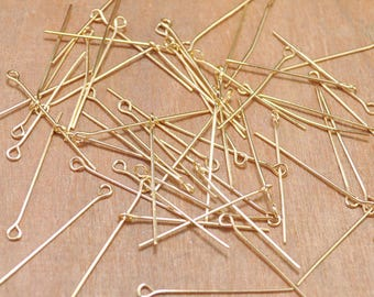 200pc of Eye Pins,Gold Eye Pin Jewelry Making settings 30mm,metal eye pin,Gold EyePins.