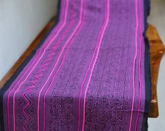 2YD Vintage Hmong textiles embroidered batik fabric cotton handmade table runner#30