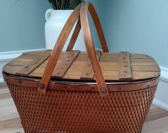 Vintage Picnic Basket, Wedding Decor, Lunch Basket, Wood Picnic Basket
