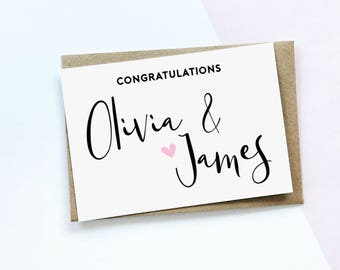 Congratulations Card, Personalised Engagement Card, Personalised Wedding Card, Personalized Wedding Card, Love Card
