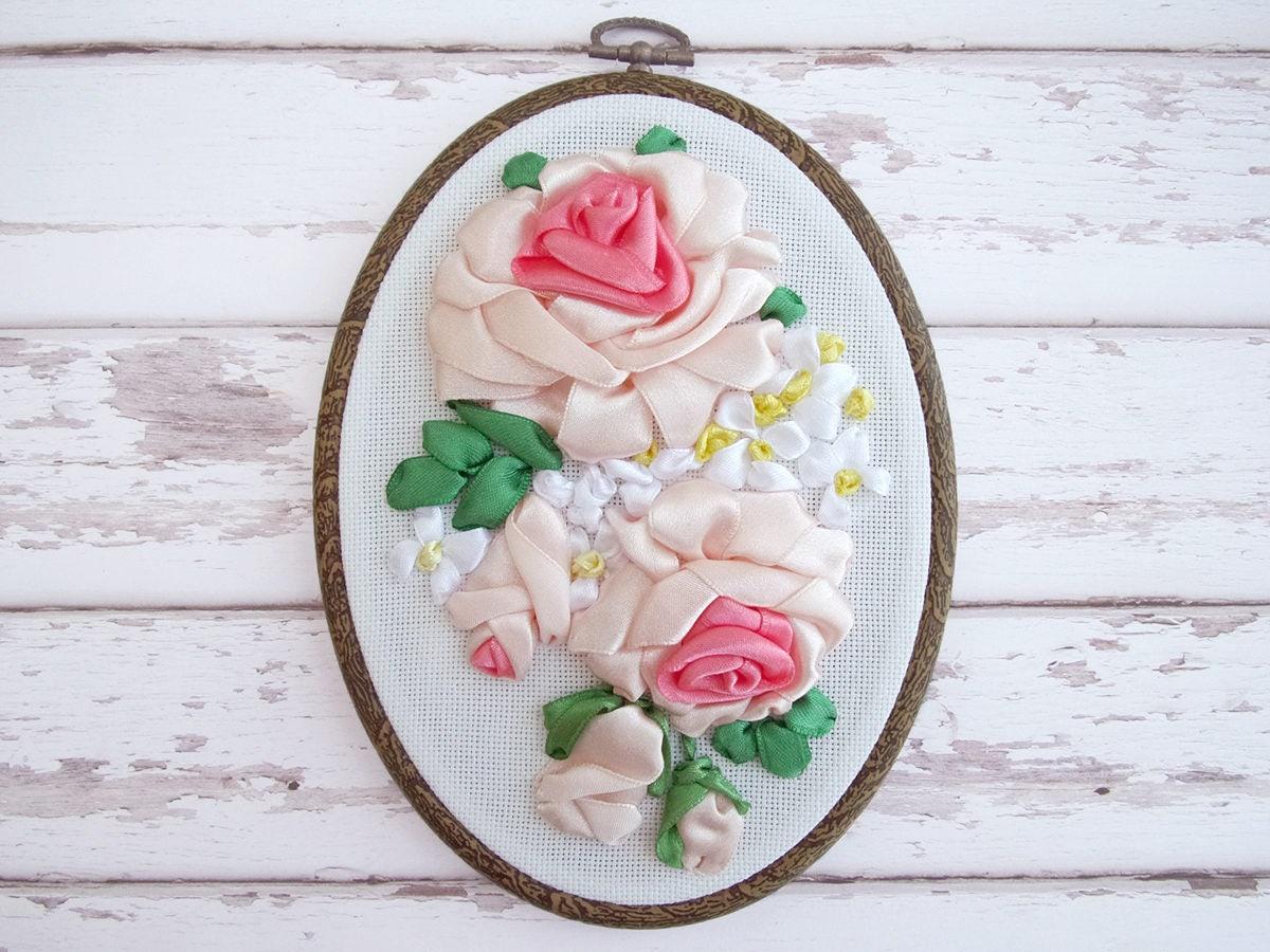 Ribbon embroidery bedspread designs - Ribbon Embroidery Wall Hanging Ribbon Embroidery Hoop Art Hand Embroidery Wall Decoration Embroidery