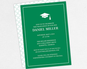 Graduation Invitation, Graduation Announcement, Printable Invite, Invitation PDF, DIY Graduation, Printed Invites, Modern, Boy, Dan, Green