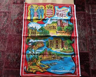 """Vintage 70s  """"Principalty of Monaco"""" kitchen towel"""
