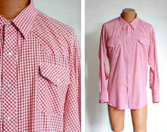 "1970s/1980s Red and White Gingham Western Shirt - 52"" Chest"