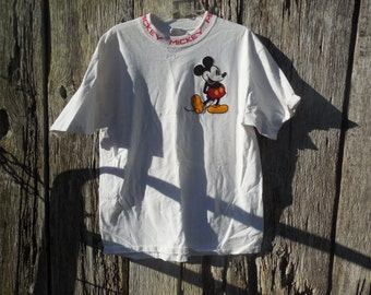 80s 90s vintage Mickey Mouse t shirt unique rare MIckey written out collar L/XL oversized street wear hipster dingy white distressed ringer