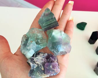 Rainbow Fluorite Green/Purple Fluorite / Healing Crystal Stones / Christmas Gift