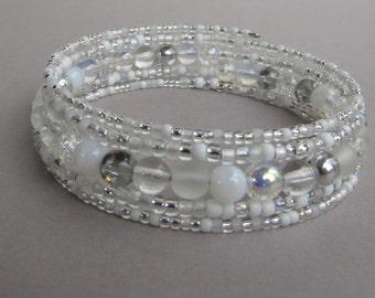 Memory Wire Bracelet in shades of white / silver, Beaded Wrap Bracelet, Handmade Gift for her, Winter Bracelet