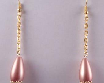 Long Bead and Chain Earrings