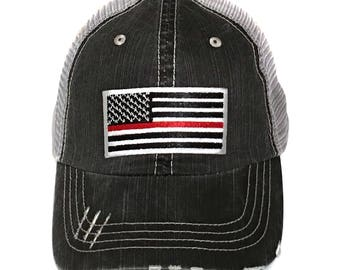 Men's Thin Red Line Flag Baseball Cap Firefighter Gift Fireman Hat American Flag Fireman Support Firefighter Support Forth Of July Elivata