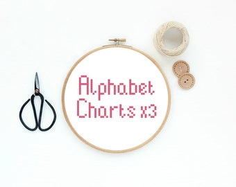 Cross Stitch Alphabet Charts x3