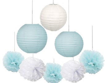 Set of 12 Mixed White Baby Blue Tissue Pom Pom Flower Hanging Paper Lantern Ball Wedding Birthday  Boy Baby Shower Party Decoration