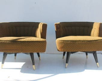 Mid-Century Modern Barrel Back Swivel  Lounge Chairs A Pair.