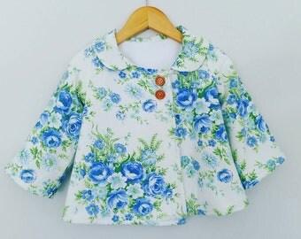 Vintage cotton swing jacket. Fleecy lined. Toddler girls.