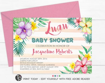 luau baby shower invitation instant download tropical baby shower invitation tropical flowers invitation