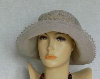 Linen hat, summer hat, women's hat, beige