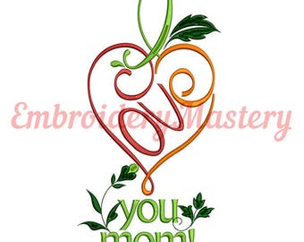 i lOVE YOU MOM! - Machine Embroidery Design - instant download