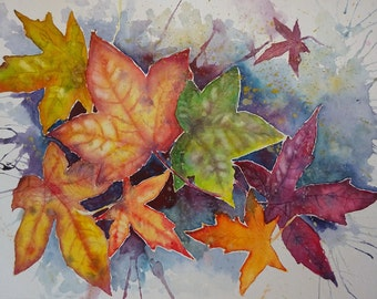 Autumn leaves - Watercolour painting