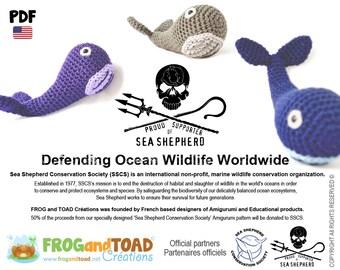 Whale SeaShepherd - Amigurumi Crochet Pattern - American Terminology