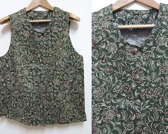Vintage Floral Crop top, Japan Crop top, Japanese Vintage, Buttons down top, Size L-XL
