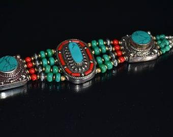 Tribal Bracelet, Turquoise Bracelet, Coral Bracelet, Afghan, Silver Bracelet, Ethnic Bracelet, Gemstone Bracelet, Tibetan, Boho (B171)