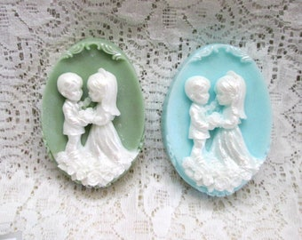 Bride and Groom - oval soap with colored background of your choice.