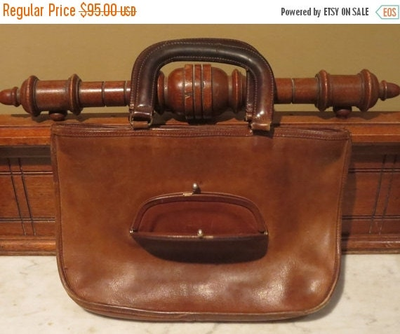 Football Days Sale How About a Big Kiss Lock Coach Watermelon Satchel In Mocha Leather With Sold Brass Hardware - Made In New York City - A