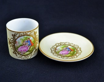 Vintage Hand Painted Lefton China Cup And Butter Plate, Courting Couple