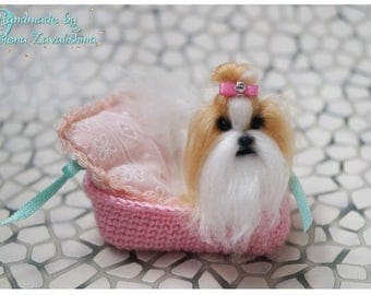 Shih-Tzu/OOAK miniature felt dog/Needle felt dog/Dollhouse/Miniature/Shih Tzu doll/ 1:12/Best selling item