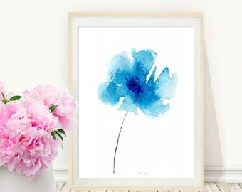 Flower Print, Printable Art, Blue Flower, Watercolor Flower, digital Download, Blue Wall Art, Home Decor, Wall Decor