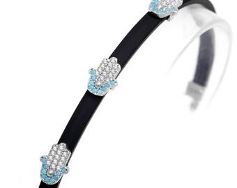 Hamsa Bracelet with Rubber and Hamsa Charms - SB087