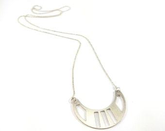Silver Geometric Necklace, Geometric Pendant, On Sale Agnes Necklace, long geometric pendant jewelry, statement necklace,Scandinavian design