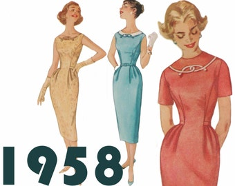 "Wiggle Dress Pattern 50s Sheath Dress SIMPLICITY 2457 bust 34"" 1950s Dress Pattern Day Into Evening Dress Vintage Dress Retro Dress Pattern"