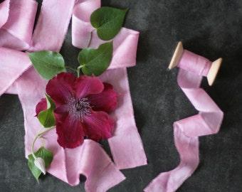 Hand dyed silk ribbons, dark pink, 1 m/1,09 yard