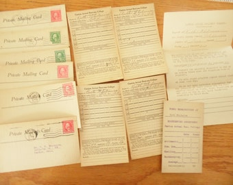 School Attendance Record Cards Set Of 10 Canton Actual Business College Antique Post Cards 1919