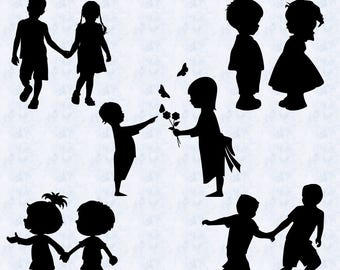 Kids silhouettes svg, people silhouettes svg, children silhouettes svg, child svg, kids clipart, printable, cricut, silhouette cameo