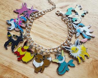 Pokemon Eevee, eeveelutions, umbreon, vaporeon, Espeon, Flareon charm bracelet