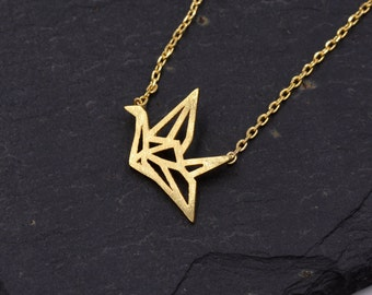 Sterling Silver Tiny Little Origami Crane Pendant Necklace with 18ct Gold Plating  z76