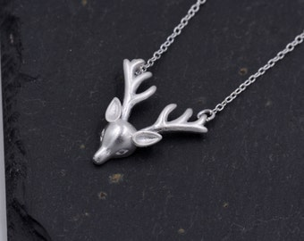 Sterling Silver Stag Antler Pendant Necklace - Textured Frosted Finish 18''  z96