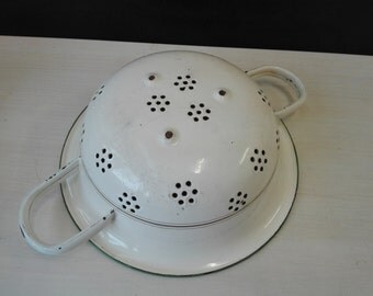 Enamel colander, Cream, Green and gold lining
