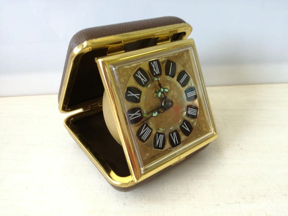 Blessing travel clock, gold brown