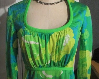 Mod Retro 1960's Keram New York Colorful Vibrant Floral Empire Waist Maxi Dress