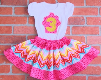 Girls Birthday Outfit- Birthday Clothing Set, Girls Twirly Skirt, Full Skirt Set- 3T