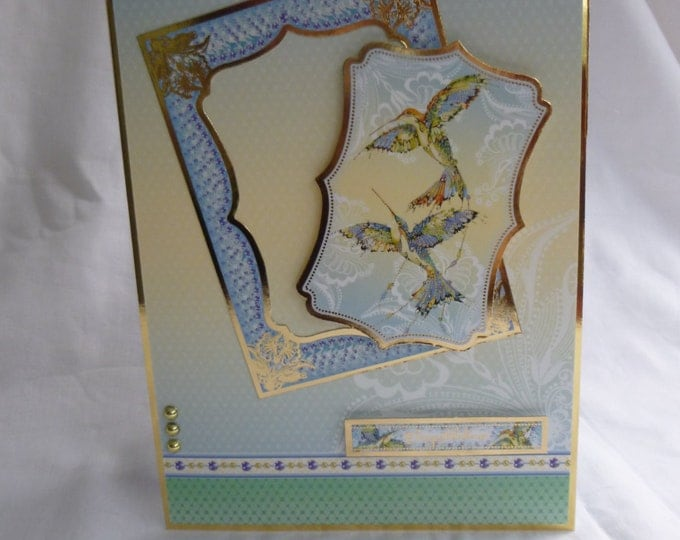 Oriental Style Anniversary Card, Engagement Card, Wedding Card, Any Occasion Card, Greeting Card Two Humming Birds, Female, Any Age
