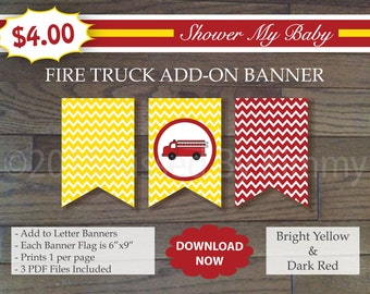 Red and Yellow Fire Truck Add-On Banner -60% Off- Printable Baby Boy Shower Banner - Chevron Baby Shower Decor - Bright Yellow Dark Red  5-1