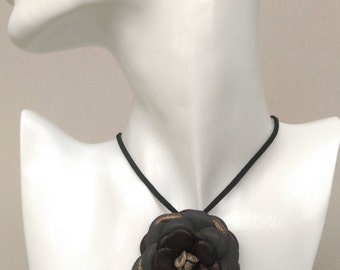 Dark genuine leather flower necklace / leather necklace / leather pendant
