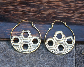 Geometric TRibal Ethnic Brass Earrings