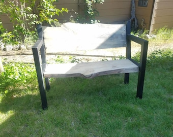 Reclaimed Wooden Benches, Outdoor Garden Benches, Live Edge,Free shipping seaside furniture