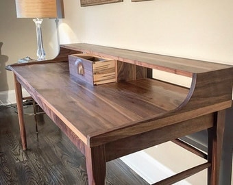Handmade walnut writing desk, desk, wood desk, desk with shelves, office desk